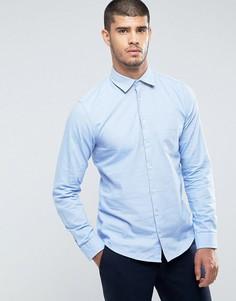 Синяя облегающая оксфордская рубашка с карманом BOSS Orange by Hugo Boss - Синий