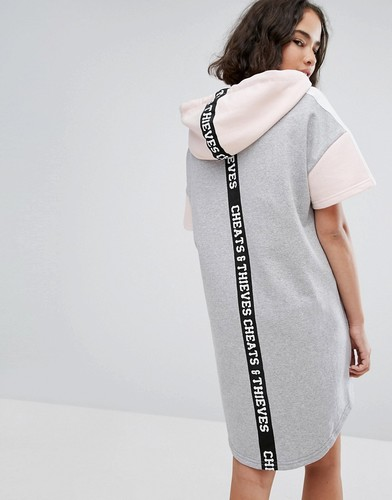 Платье-футболка в стиле колор блок с капюшоном Cheats & Thieves - Серый