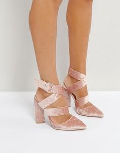 Бархатные розовые туфли на каблуке Qupid - Розовый