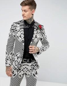 Черно-белый приталенный пиджак с жаккардовой вышивкой ASOS - Черный
