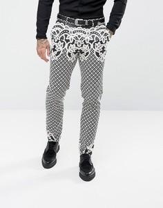 Жаккардовые зауженные брюки (черный, белый) ASOS - Черный