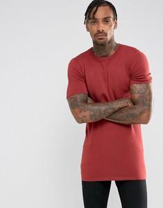 Красно-бурая удлиненная футболка с добавлением вискозы ASOS - Коричневый