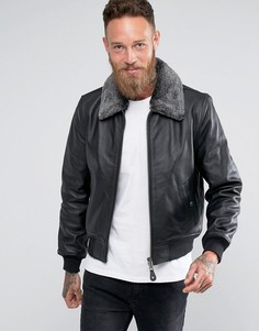 Черная облегающая кожаная куртка со съемным воротником из искусственного меха Schott - Черный