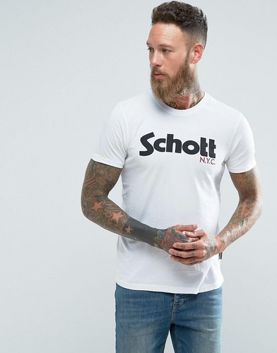 Белая узкая футболка с логотипом Schott - Белый