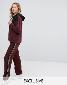 Широкие брюки с полосками по бокам Monki - Красный