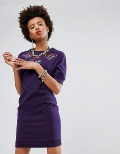 Платье-свитшот с вышивкой в виде татуировок Love Moschino - Фиолетовый