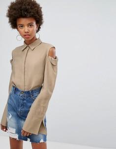Рубашка с открытыми плечами EVIDNT - Бежевый