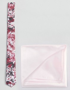 Розовый галстук с цветочным принтом и розовый платок для нагрудного кармана ASOS - Серый
