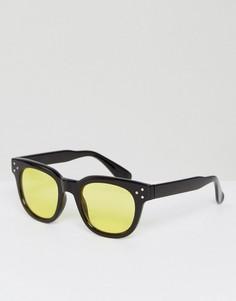 Квадратные солнцезащитные очки в черной оправе с желтыми стеклами ASOS - Черный