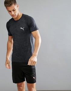 Черная меланжевая футболка Puma Running evoKNIT 59063301 - Черный