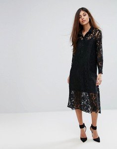 Кружевное платье-рубашка с длинными рукавами Closet - Черный