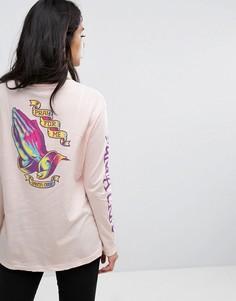 Лонгслив с принтом на спине Santa Cruz - Розовый