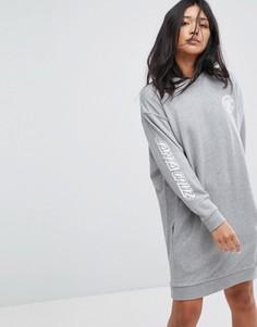 Трикотажное платье с принтом на рукавах Santa Cruz - Серый