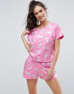 Пижамная футболка и шорты с блестящими единорогами ASOS - Мульти