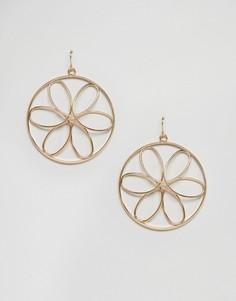 Серьги-кольца с цветочной отделкой Nylon - Золотой
