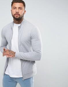 Трикотажная облегающая спортивная куртка ASOS - Серый