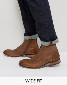 Светло-коричневые кожаные ботинки-броги для широкой стопы с молниями и шнуровкой ASOS - Рыжий