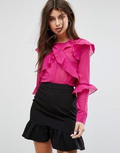 Прозрачная блузка с многослойными оборками Fashion Union - Розовый