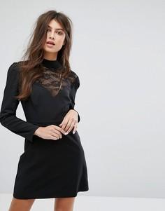 Кружевное платье с длинными рукавами и высоким воротом Fashion Union - Черный