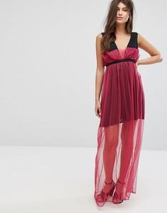 Платье макси с полупрозрачным сетчатым слоем в горошек Fashion Union - Розовый