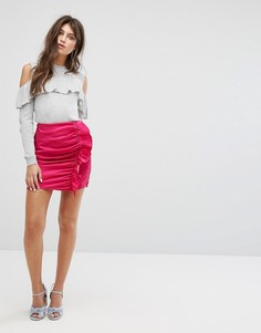 Мини-юбка из премиум-ткани с оборками и сборками Fashion Union - Розовый