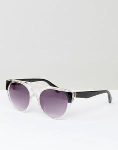 Круглые солнцезащитные очки в прозрачной оправе AJ Morgan - Черный