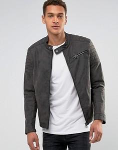 Байкерская куртка из кожзаменителя Esprit - Серый