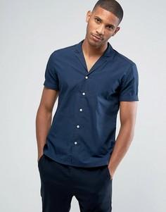 Рубашка узкого кроя с короткими рукавами и кубинским воротником Esprit - Темно-синий
