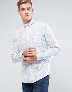 Рубашка узкого кроя с пальмовым принтом Esprit - Белый