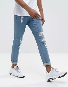 Выбеленные джинсы скинни с прорехами ASOS - Синий