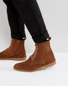 Светло-коричневые замшевые ботинки на шнуровке Selected Homme Royce - Рыжий