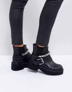 Массивные ботинки с металлической отделкой ASOS ROSSIЕ - Черный