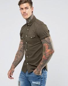 Зауженная джинсовая рубашка цвета хаки в стиле вестерн ASOS - Зеленый