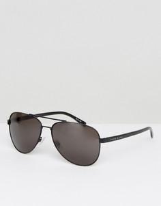 Черные металлические солнцезащитные очки-авиаторы BOSS By Hugo Boss - Черный
