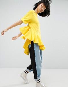Топ с асимметричной оборкой ASOS WHITE - Желтый