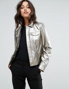 Куртка-рубашка металлик Sisley - Серебряный