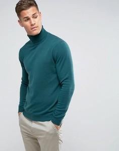 Зеленый джемпер-водолазка из 100% мериносовой шерсти United Colors of Benetton - Зеленый