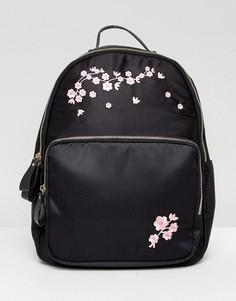Рюкзак с цветочной вышивкой Yoki - Черный