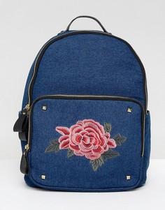 Джинсовый рюкзак с цветочной нашивкой и заклепками Yoki - Темно-синий