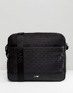 Черная нейлоная сумка почтальона с логотипом Armani Jeans - Черный