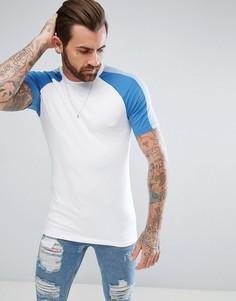 Обтягивающая футболка с контрастными рукавами реглан ASOS - Белый