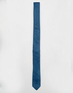 Сине-зеленый узкий фактурный галстук ASOS - Темно-синий