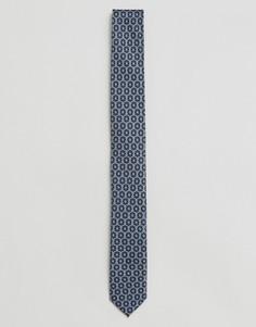 Узкий галстук с синим геометрическим принтом ASOS - Синий