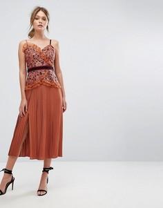 Платье миди с кружевом и плиссированной юбкой Three Floor - Оранжевый
