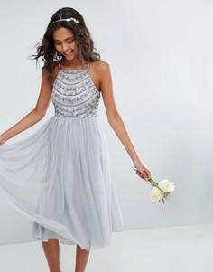 Платье миди ASOS WEDDING - Серый
