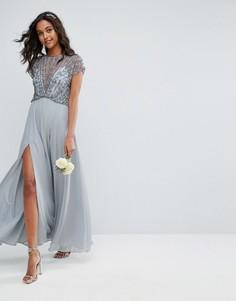 Платье макси с отделкой бусинами на лифе ASOS WEDDING - Серый