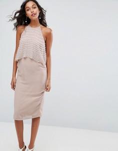 Платье-футляр миди с декорированным искусственным жемчугом топом ASOS - Розовый