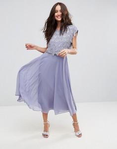 Приталенное платье миди с декорированным кроп-топом ASOS - Фиолетовый