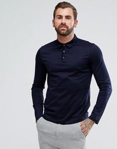 Приталенная темно-синяя футболка-поло с длинными рукавами HUGO by Hugo Boss Demons - Темно-синий
