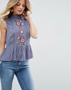 Блузка с вышивкой ASOS - Синий